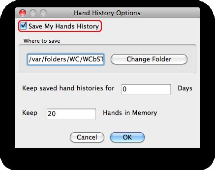 Holdem indicator hand history